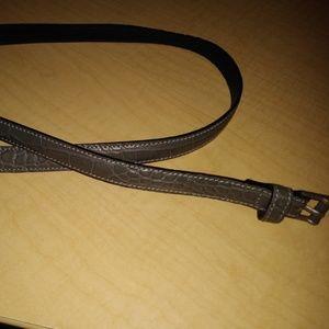 Donna Karan Grey Croco Embossed Leather Belt - L